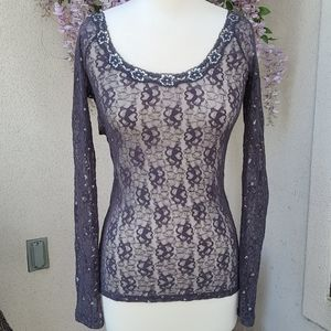 Free People Top Lace Gray Top size M